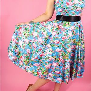 hearts and roses Dresses - Flamingo Print Vintage Style Dress